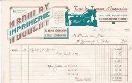LA FERTE BERNARD IMPRIMERIE LE REVEIL L AUBE MAURICE BOULAY TYPOGRAPHIE AFFICHES GRAVURES LITHOGRAPHIES ANNEE 1950 - Francia
