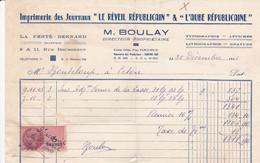 LA FERTE BERNARD IMPRIMERIE LE REVEIL L AUBE MAURICE BOULAY TYPOGRAPHIE AFFICHES GRAVURES LITHOGRAPHIES ANNEE 1946 - Francia