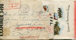 TOP LETTRE ENVELOPPE + COURRIER 1941 CENSURE FFL FORCES FRANCAISES LIBRES CANADA TROIS RIVIERES POUR SYRIE MOYEN ORIENT - Guerra Del 1939-45