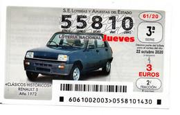 SPAIN LOTTERY TICKET VINTAGE AUTOMOVIL RENAULT 5 . CAR VOITURE COCHE - Loterijbiljetten