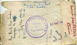 TOP LETTRE ENVELOPPE + COURRIER 1941 CENSURE FFL FORCES FRANCAISES LIBRES CANADA MONTREAL POUR CAMBERLEY ENGLAND - Guerra Del 1939-45