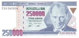 Turkey P.207  250000 Lirasi 1995 Unc - Turquie