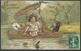 Cpa Gauffrée, Fillette Dans Barque Dont Le Chien Est Le Rameur , Bonne Année  - Maca1928 - Cartes Humoristiques