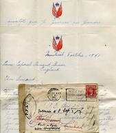 LETTRE ENVELOPPE + COURRIER 1941 CENSURE FFL FORCES FRANCAISES LIBRES CANADA MONTREAL POUR TCHAD SYRIE BEYROUTH LIBAN - Guerra Del 1939-45