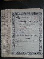 Lot De 10 Actions De 1888 LIEGE - TRAMWAYS DE TUNIS - Ferrovie & Tranvie