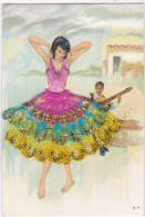 CARTE BRODEE  :LA DANSE - Embroidered