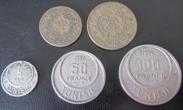 Tunisie - Lot De 5 Monnaies 1 à 100 Francs Entre 1921 Et 1954 - Tunisie