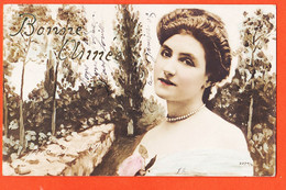 Cpfete 593 BONNE ANNEE Ecriture Scintillant Portrait Melle DARLING à TEYSSIER Tampon Poste BUGEAT Correze N-R 227 4/6 - New Year