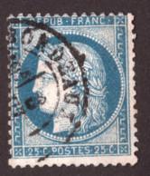 Cérès N° 60C Bleu Vif - Oblitération T17 Bordeaux - 1871-1875 Cérès