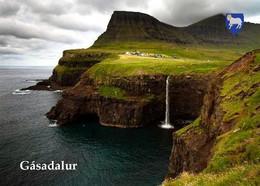 Faroe Islands Gasadalur Waterfall New Postcard Färöer AK - Faeröer