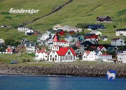 Faroe Islands Vagar Sandavagur View Church New Postcard Färöer AK - Faeröer