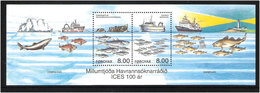 Faroe Islands 2002 100 Years International Council For Marine Research (ICES), Ships, Fish, Mi Bloc 14, MNH(**) - Faeroër