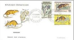 FDC Republique CENTRAFRICAINE : 1966 : YT. 75-77 : FAUNE,RONGEURS,RODENTS - Centrafricaine (République)