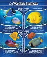 CENTRAFRICAINE 2015 SHEET TROPICAL FISHES LES POISSONS TROPICAUX PECES PEIXES VIE MARINE LIFE Ca15220a - Centrafricaine (République)