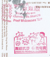 Macau, 2020, Postal Used Post Card From Macau To China, Special Chop Of COVID-19 - Brieven En Documenten