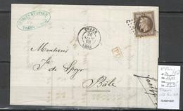France  - GC 3926 - THANN Pour La Suisse -  Haut Rhin - 1870 - Yvert 30 - 1849-1876: Periodo Clásico