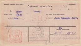 Slovenia SHS 1920 Postal Money Order With SHS Chainbreakers Postage Due Stamp, Postmark ŽALEC - Slovenia