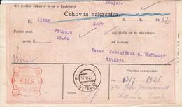 Slovenia SHS 1920 Postal Money Order With SHS Chainbreakers Postage Due Stamp, Postmark VITANJE - Slovenia