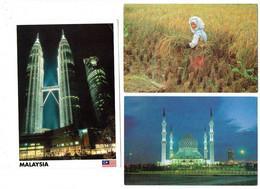 Lot 3 Cpm - Malaysia - Malaisie -  Shah Alam Mosquée Femme Rizière Kuala Lumpur Petronas Twin Towers - Malaysia