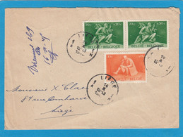 LETTRE DE LIEGE AVEC NO 701 ET PAIRE DU NO 704. - Briefe U. Dokumente