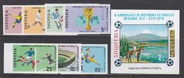 Albania 1970 -Football World Cup, Mexico, Mi-Nr. 1418/24B + Bl. 38B, MNH** - Albanie