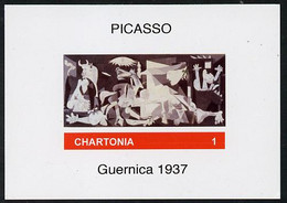 Chartonia (Fantasy) Guernica (1937) By Picasso Imperf Deluxe Sheet On Glossy Card Unmounted Mint - Fantasy Labels