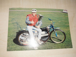 Original Signed Photography Of Erik Gundersen, Motorbike, Speedway - Dédicacées