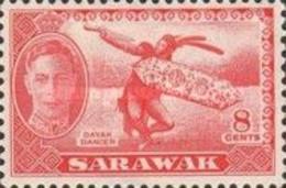 Malaysia-Malayan States-Sarawak, 1950, Michel 176, Local Motifs (Dajak Dancer), 1v. MH - Danza