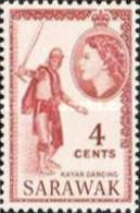 Malaysia-Malayan States-Sarawak, 1955, Michel 190, Queen Elizabeth II & Local Motifs (Kayan Dancing), 1v. MNH - Danza