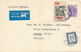 Nederland - 1963 - 15 Cent Portzegel - Enkelfrankering Op Incoming Letter From Israel - Portomarken