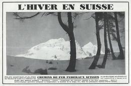 Vieux Papiers > Publicité Hiver En Suisse Chemins De Fer Federaux Suisses - Publicités