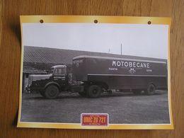 UNIC ZU 72T 1952 Semi Remorque Publicité Motobécane Pantin Seine France Fiche Descriptive Camion Truck Transport Camions - Andere