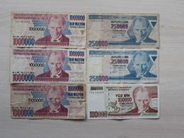 TURKEY LIRASI - LOT 6  BANKNOTES - Turquie