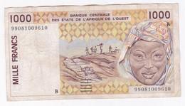 Benin 1000 Francs 1999. Banque Centrale Des Etats De L'Afrique De Ouest. - Benin