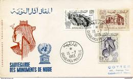 """Maroc;FDC 1er Jour ; 1963,TP N°461/463 """" Sauvegarde Des Monuments De Nubie """"Morocco,Marruecos - Morocco (1956-...)"""