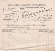 LA FERTE BERNARD THOREAU FERS ACIERS CHARBONS QUICAILLERIE ANNEE 1922 - Francia