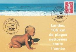 106 KMS DE PLAGES PROPRES LANDES CAPBRETON 1991 - Commemorative Postmarks