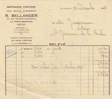 LA FERTE BERNARD BELLANGER IMPRIMERIE FERTOISE ANNEE 1943 - Francia