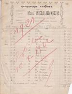 LA FERTE BERNARD BELLANGER IMPRIMERIE FERTOISE 14 MACHINES ANNEE 1921 FACTURE DOUBLE - Francia