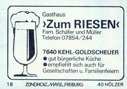 """1 Altes Gasthausetikett, Gasthaus """"Zum Riesen"""", Fam.Schäfer Und Müller, 7640 Kehl-Goldscheuer #1167 - Boites D'allumettes - Etiquettes"""