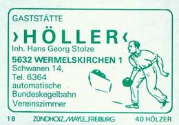 """1 Altes Gasthausetikett, Gaststätte""""Höller"""", Inh. Hans Georg Stolze, 5632 Wermelskirchen 1, Schwanen 14 #1168 - Boites D'allumettes - Etiquettes"""
