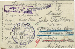 WW1 CIVILVERWALTUNG VII Armée  Ardennes CARTE POSTALE  ADRESS2E 0 FLAIGNES LES OLIVIERS - Oorlog 1914-18
