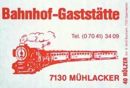 1 Altes Gasthausetikett, Bahnho-Gaststätte, 7130 Mühlacker #1170 - Boites D'allumettes - Etiquettes