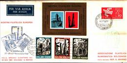 22708) ITALIA-FDC MOSTRA FILATELICA EUROPEA VOLO SPECIALE BOLOGNA SAN MARINO  25-11-1961-FOGL. ERINNOFILO - 6. 1946-.. Republic