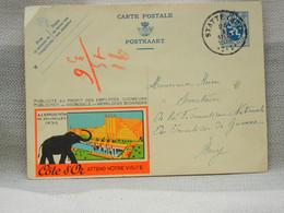BELGIQUE - EP PUBLIBEL CÔTE D'OR EXPO BRUXELLES 1935 - OBLITERE STATTE HUY RONDE SUR 50c 1935  + CACHET PERSO AU DOS - Werbepostkarten