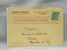 BELGIQUE - CP PHOTO WEBER AYWAILLE - AVIS AU CLIENT - OBLIT RONDE AYWAILLE 1937 - Briefe U. Dokumente