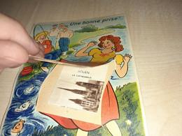 Humorous Postcard, France, Rouen, Kathedrale, Humour, Fisherman, Woman With Skirt, Une Bonne Prise, Soulevez Pourvoir - Humour