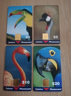 AUSTRALIA  MINT SET TELSTRA  CHIPCARDS BIRDS/ PARROT/FLAMENGO/TOUCAN/CRANE 2X$5,-+1X$10,- + 1X$20,-** 3619** - Australia