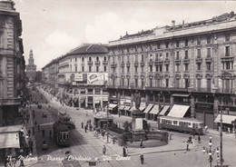 MILANO - PIAZZA CORDUSIO E VIA DANTE - FILOBUS / TRAM - 1949 - Milano (Milan)