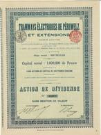 Titre Ancien - Tramways Electriques De Péruwelz Et Extensions - Société Anonyme  - Titre De 1910 - - Railway & Tramway